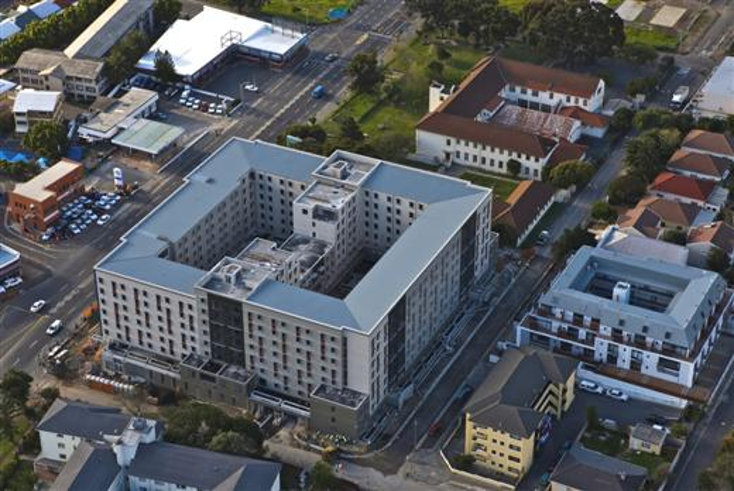 OBZ Square, Cape Town.  University of Cape Town student residences.  Xypex Admix C500NF for below grade structures and construction joints.